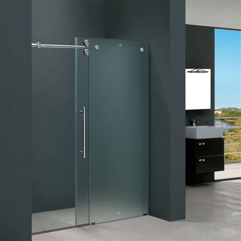 Vigo 60 Inch Frameless Frosted Glass Sliding Shower Door Bathroom Glass Sliding Shower Doors