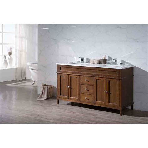 Bathroom Vanities Hamilton Stufurhome Hamilton 59 Quot Sink Bathroom Vanity With White Quartz Top Wood Free