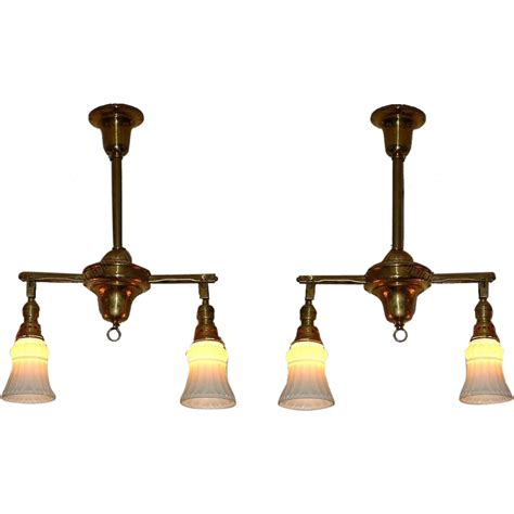 Ship Lighting Fixtures Two Antique Brass 2 Shade Lighting Fixtures C1908 Vintage Ship Or From Vintagelights On