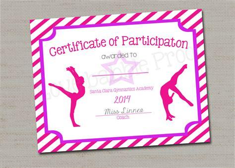 gymnastics certificate template gymnastics award certificate award printable digital
