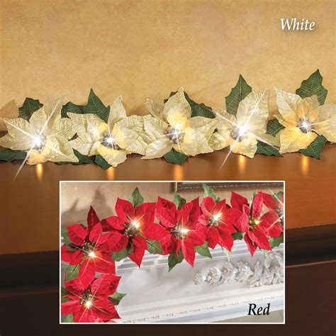 red led lighted poinsettia garland christmas indoor mantel