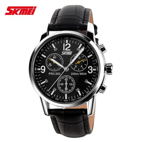 skmei jam tangan analog pria leather 9070cl black jakartanotebook
