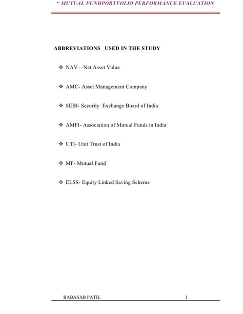 Mba Project Report On Portfolio Management by Evaluation Of Fundportfolio Sbi Project Report