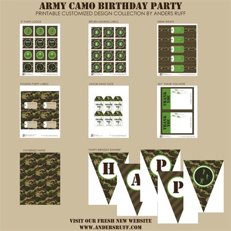 free printable army birthday decorations army camo birthday party printable collection