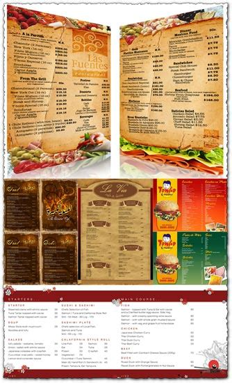 menu card design templates free restaurant menu cards design images
