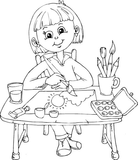 painting and coloring painting at desk coloring page coloring