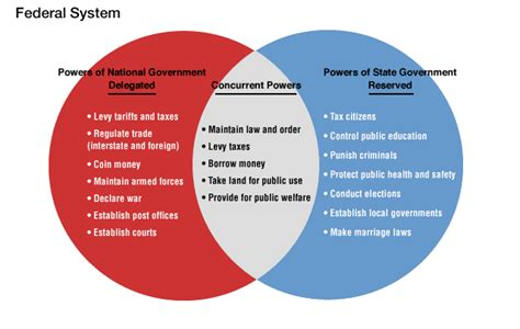 powers of state and federal government venn diagram civics powers of government
