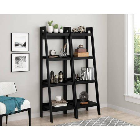 ladder bookcase black ameriwood home 4 shelf ladder bookcase bundle