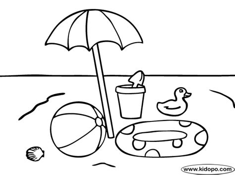 beach toys umbrella coloring page