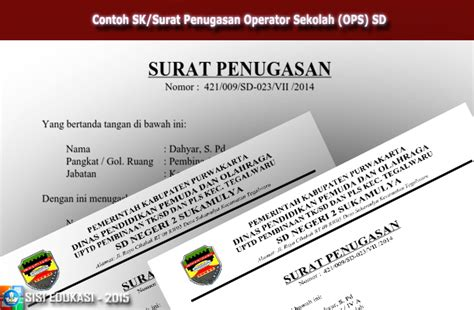 contoh sk penugasan operator contoh sk surat penugasan operator sekolah ops sd file