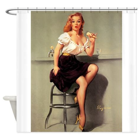 pinup girl shower curtain pinup girl ice cream vintage art shower curtain by