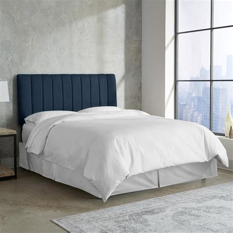 linen headboard queen linen navy queen channel seam headboard 3652qlnnnv the