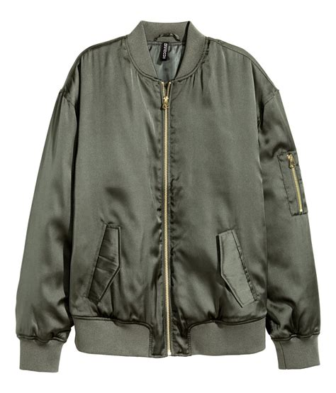 H Jaket h m satin bomber jacket in green lyst