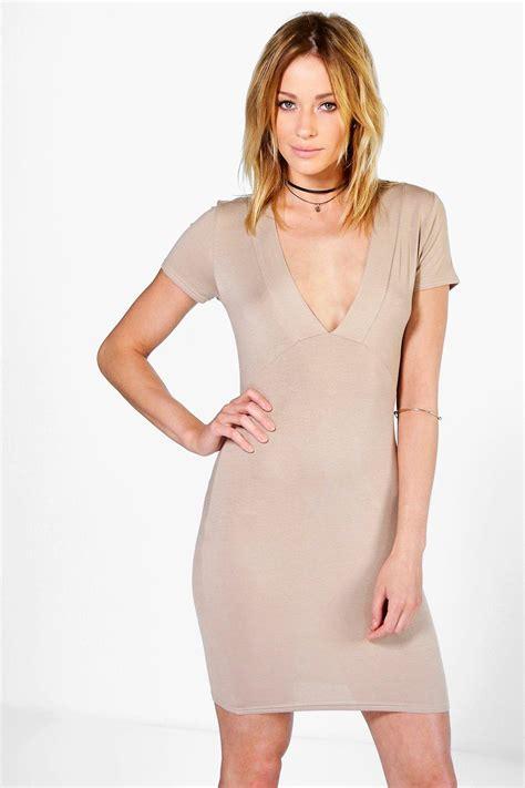 deep v plunge dress boohoo womens amy deep v plunge bodycon dress ebay