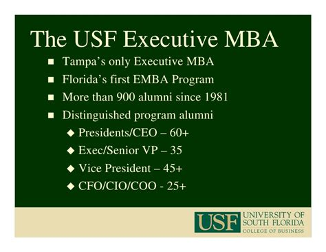 Usf Executive Mba Cost by Usf Mba Program 2009 2010