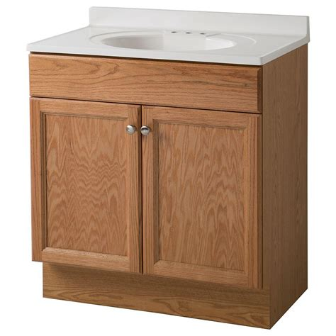glacier bay bathroom vanity glacier bay 30 in vanity in oak with cultured marble