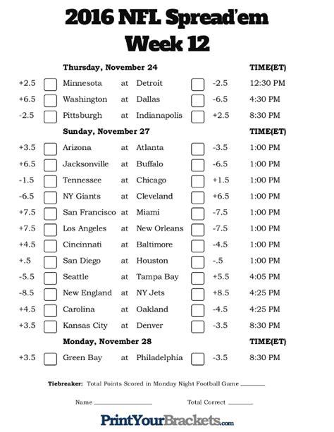 printable nfl schedule week 12 nfl week 12 pick em against the spread sheets printable