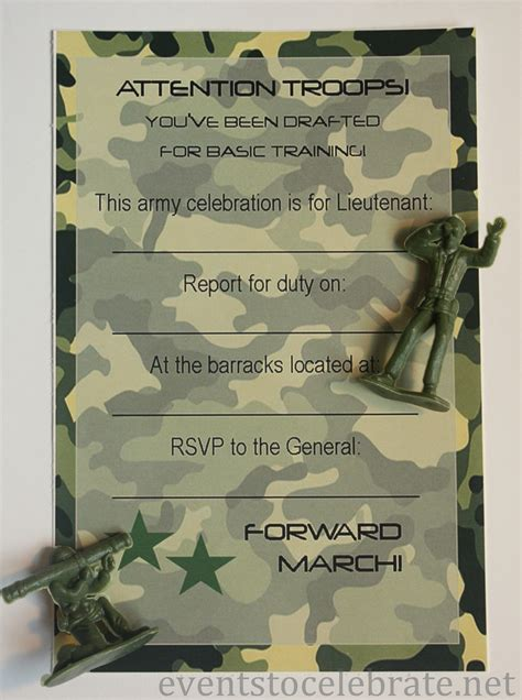 free printable invitations army car racing swim