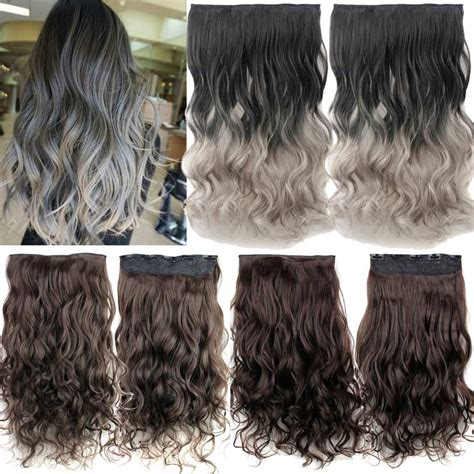 Hair Extension Clip Curly Ombre Silver Gray Abu Hairclip Keriting Curl 5 clip in hair extensions ombre grey hairpiece synthetic hair with curly false hair