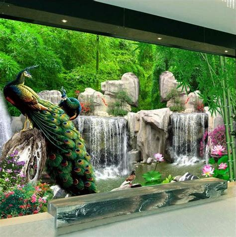 peacock birds forest rocks waterfall scene wallpaper