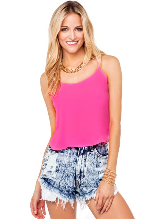 Yasmin Top 2in1 Pnk neon back caged crop top in electric pink in pink lyst