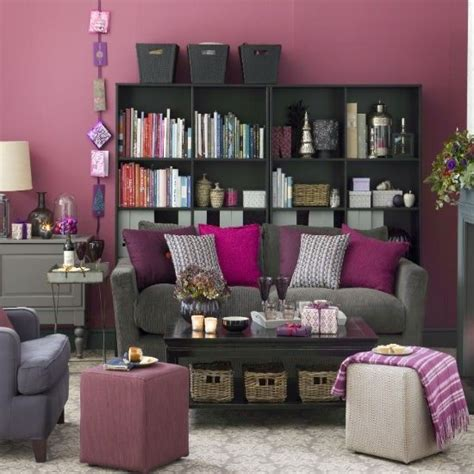 plum sofa decorating ideas graphic illusions rug pink accents grey and the purple