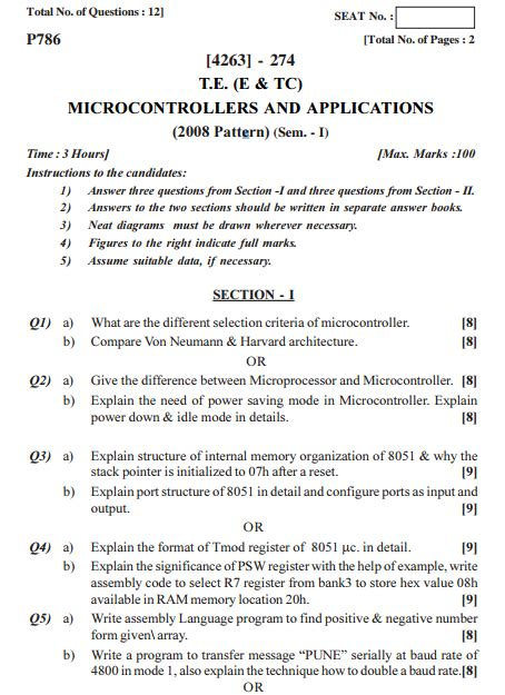 pattern recognition questions papers pune university microcontrollers and applications 01st