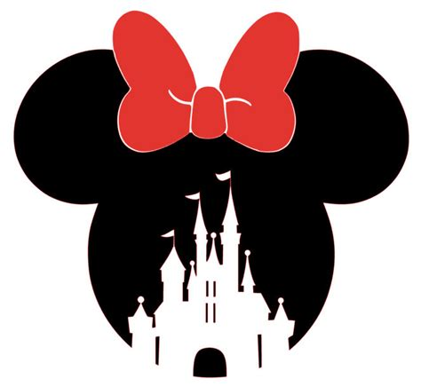 Disney Castle Wall Sticker minnie mouse head with bow and castle