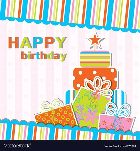 Template Birthday Greeting Card Royalty Free Vector Image Birthday Wishes Templates Free