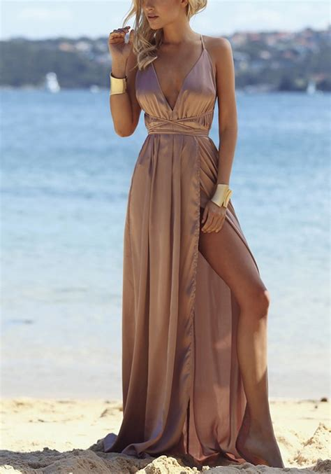 Maxi Dress Brown With Belt brown tie back cross back condole belt maxi dress maxi