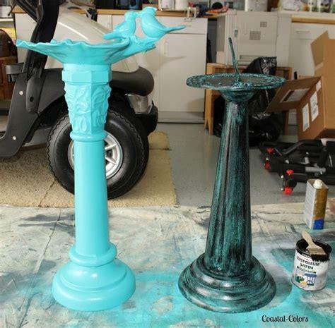 spray paint concrete painting a verdigris finish on concrete or metal statues