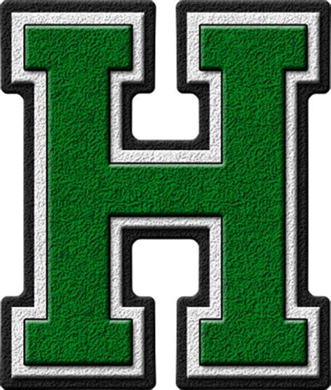 letter m layout presentation alphabets green varsity letter h