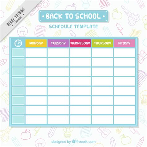 Simple School Schedule Template Vector Free Download School Schedule Template