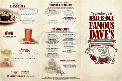 Famous Dave's Bbq Menu | World of Reference Famous Dave's Menu