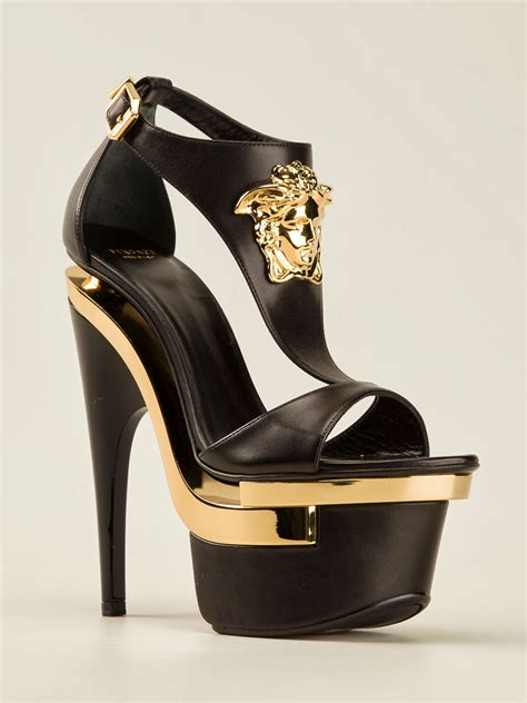 versace gold black platform heels smart shoez