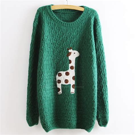 Girafe Jumper green adorable giraffe pullovers