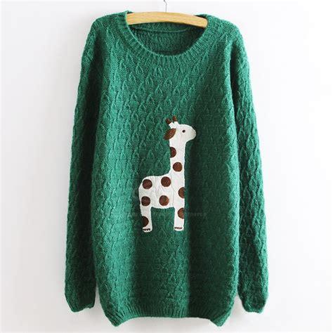 Girafe Jumper green adorable giraffe pullovers sweater on luulla