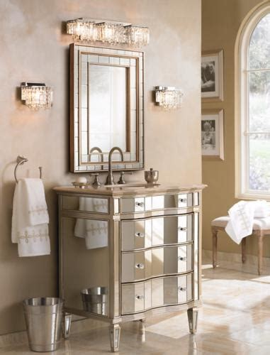 Possini Bathroom Vanity Lighting A Glamorous Bathroom With Plenty Of Mirrors And Mirrored Furniture Room Inspiration Ls Plus
