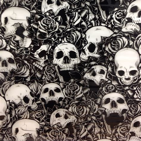 Skull Hydro skulls and roses skull 100cm hydrographic hydro