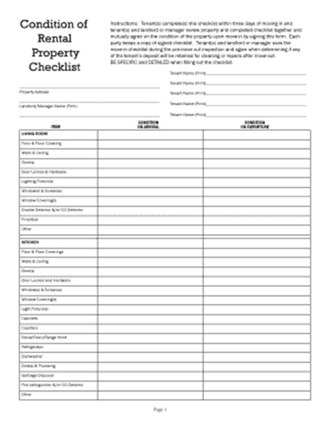 rental walk through template walkthrough checklist rental fill printable