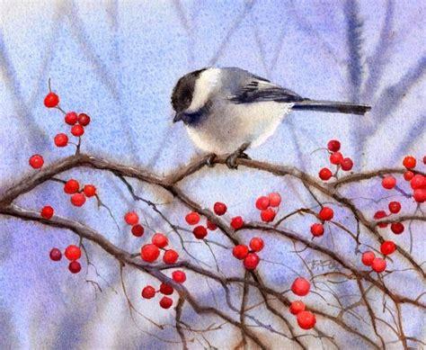 watercolor tutorial chickadee barbara fox daily paintings berry bush chickadee bird