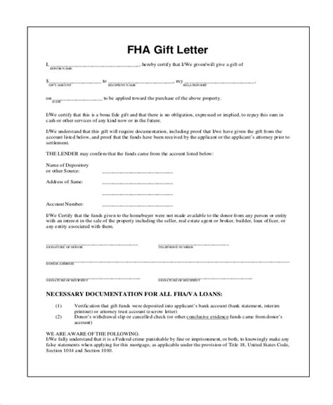 Gift Letter For Fha Loan Sle Gift Letter 9 Exles In Word Pdf