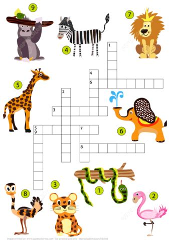 Puzzle Animal studying animals of the jungle crossword puzzle free