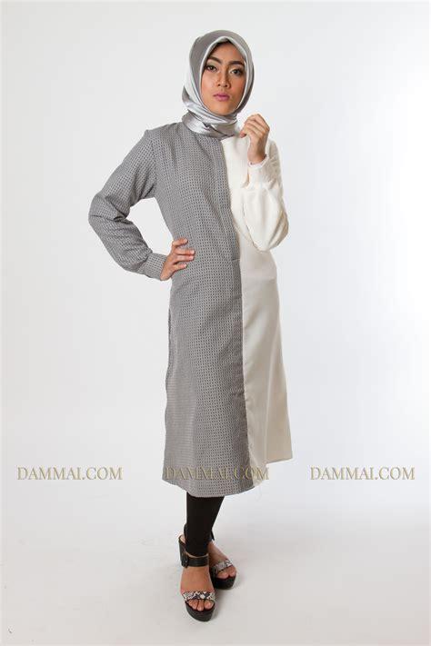 Gamis Muslim Aresya Dress modern grey white tunik dammai