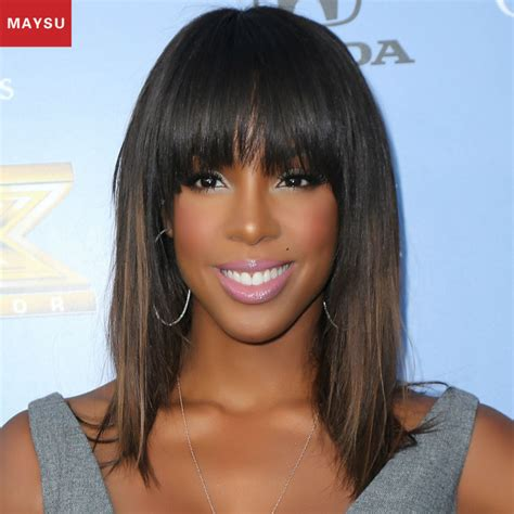 black celebrity with long straight wigs with bangs maysy charming long straight synthetic wigs for black
