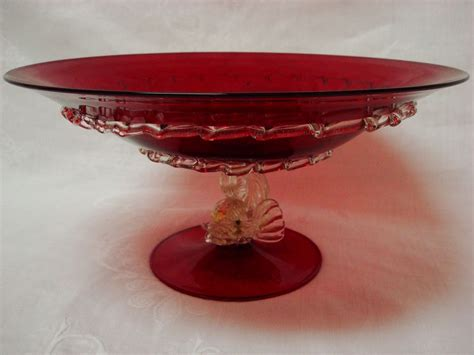 ruby venetian murano glass centerpiece bowl with dolphin