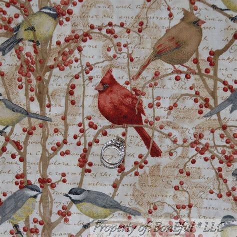 Bird Quilting Fabric by Boneful Fabric Fq Cotton Quilt Bird Toile Berry Cardinal