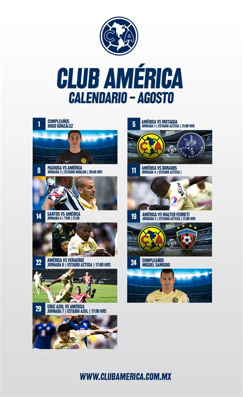 Calendario Club America 2015 Calendario Agosto 2015 Club Am 233 Rica Sitio Oficial