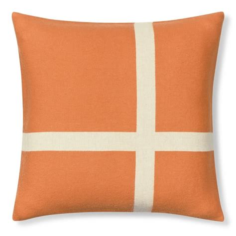 Williams Sonoma Pillows wool equestrian pillow cover orange williams