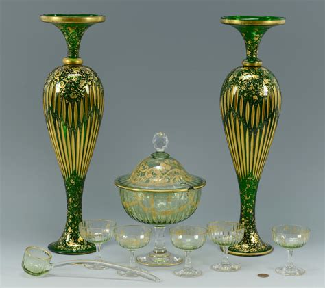 Bohemian Vases Prices by Lot 324 Green Bohemian Glass Vases Punch Set
